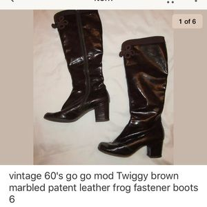 Shoes - Vintage 60's go go patent leather knee tall boots